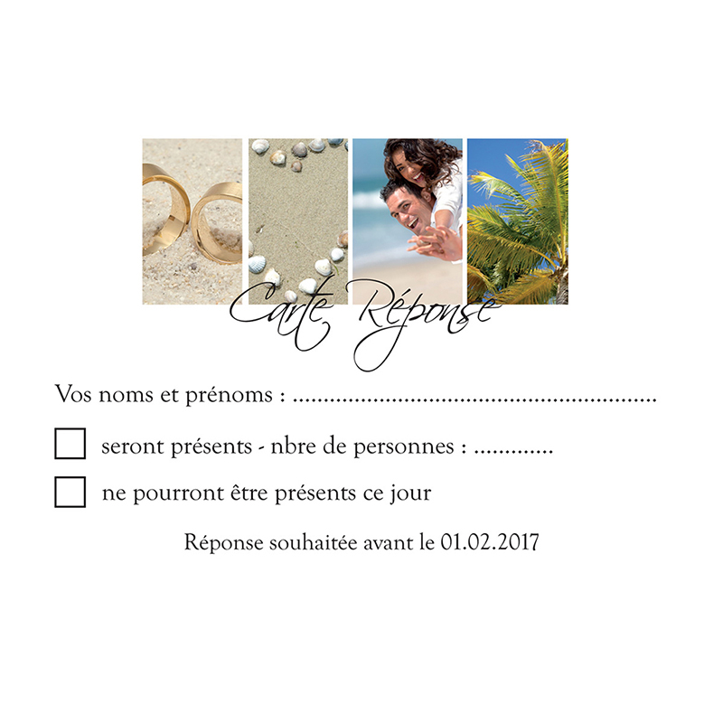 Carton réponse mariage Pano simple photos vierges pas cher