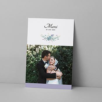 Carte de remerciement mariage Couronne Fleurs Violettes
