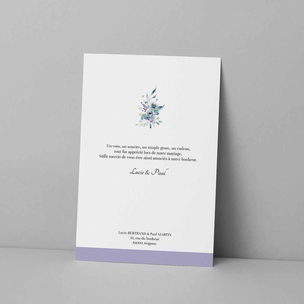 Carte de remerciement mariage Couronne Fleurs Violettes pas cher