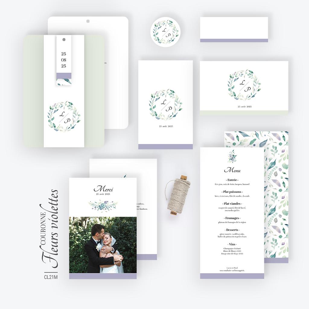 Carte de remerciement mariage Couronne Fleurs Violettes gratuit