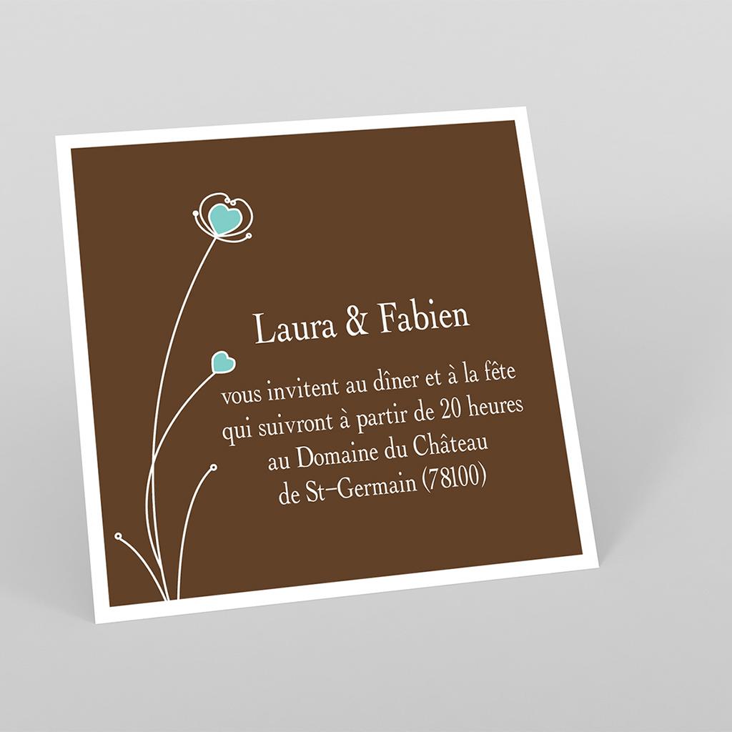 Carte d'invitation mariage Idylle chocolat