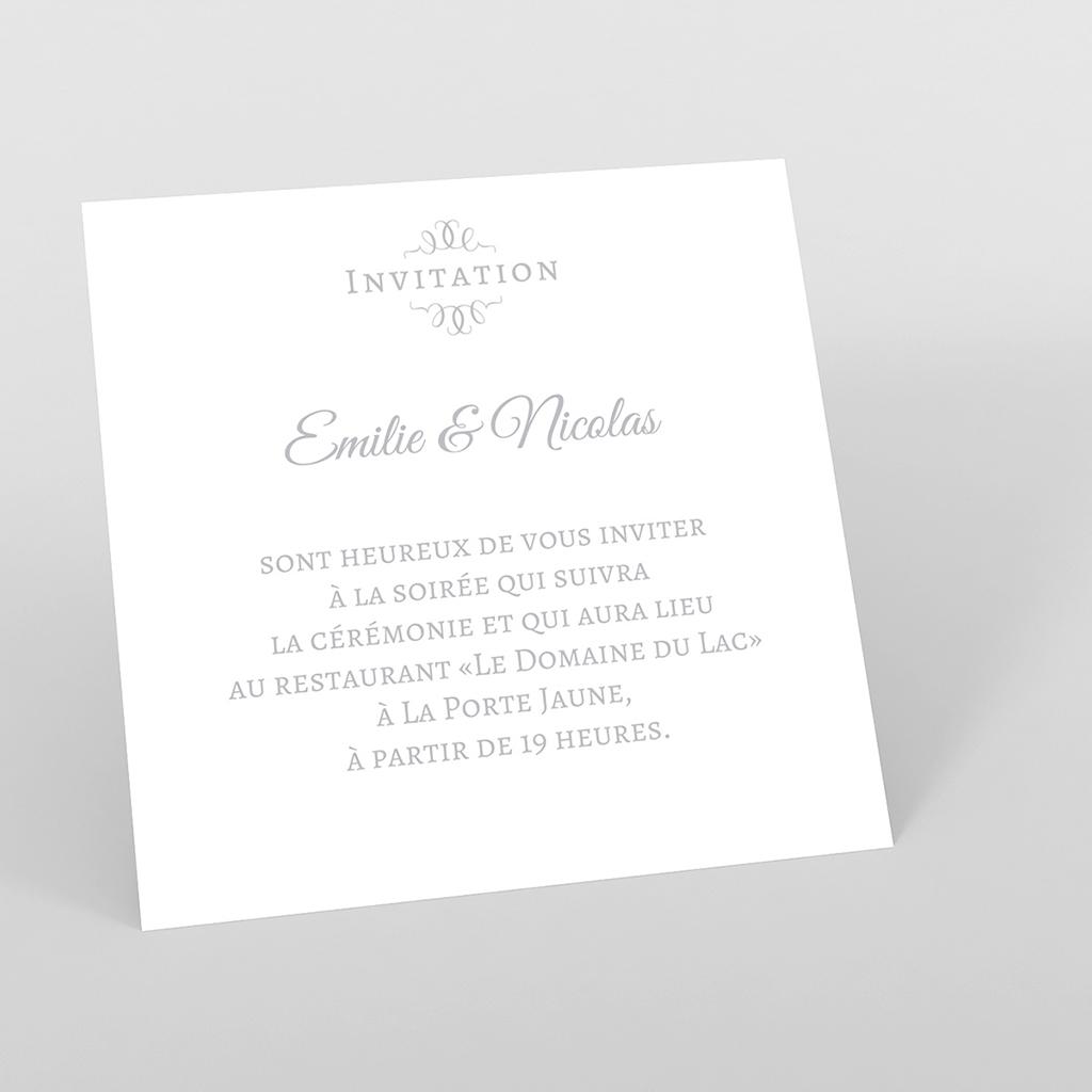 Carte d'invitation mariage Letter Press gris