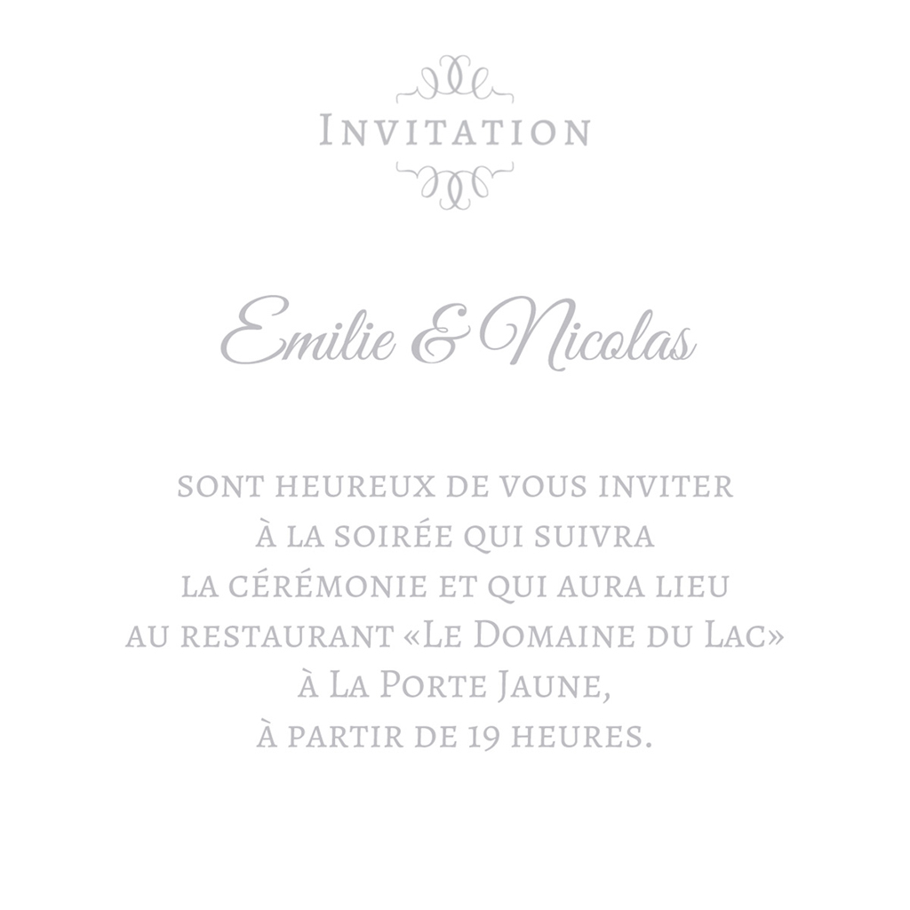 Carte d'invitation mariage Letter Press gris pas cher