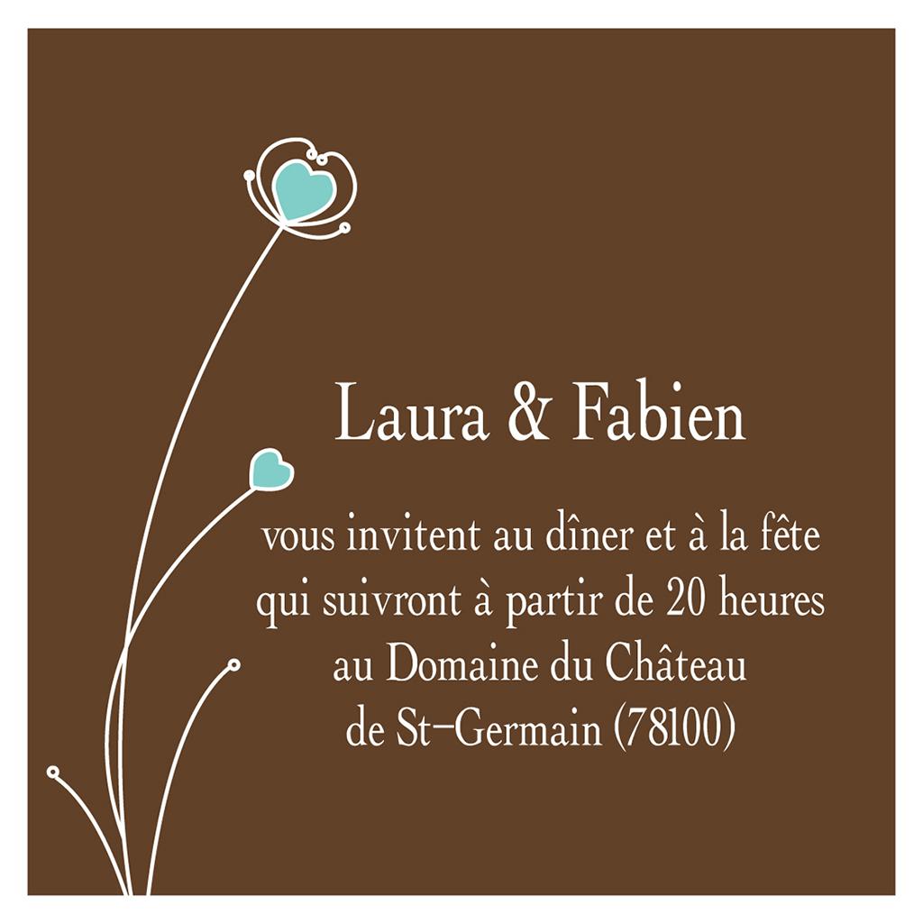 Carte d'invitation mariage Idylle chocolat pas cher