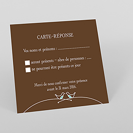 Carton réponse mariage Idylle chocolat