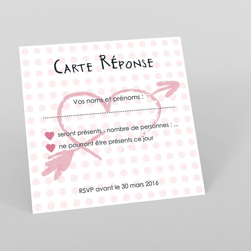 Carton réponse mariage Mots d'enfant rose