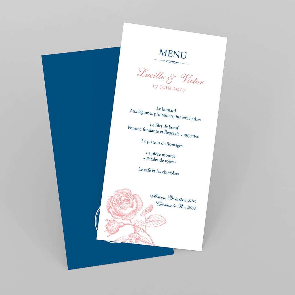 Menu mariage Rose et Bleu