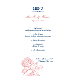 Menu mariage Rose et Bleu pas cher