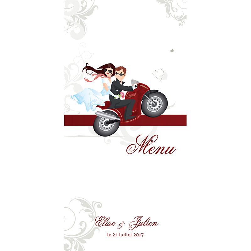 Menu mariage Une moto pour 2  pas cher