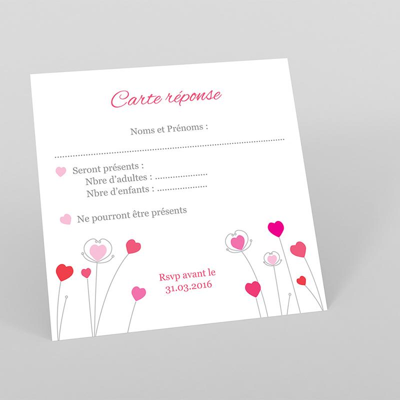 Carton réponse mariage Idylle rose