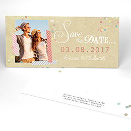 Save-the-date mariage Confettis