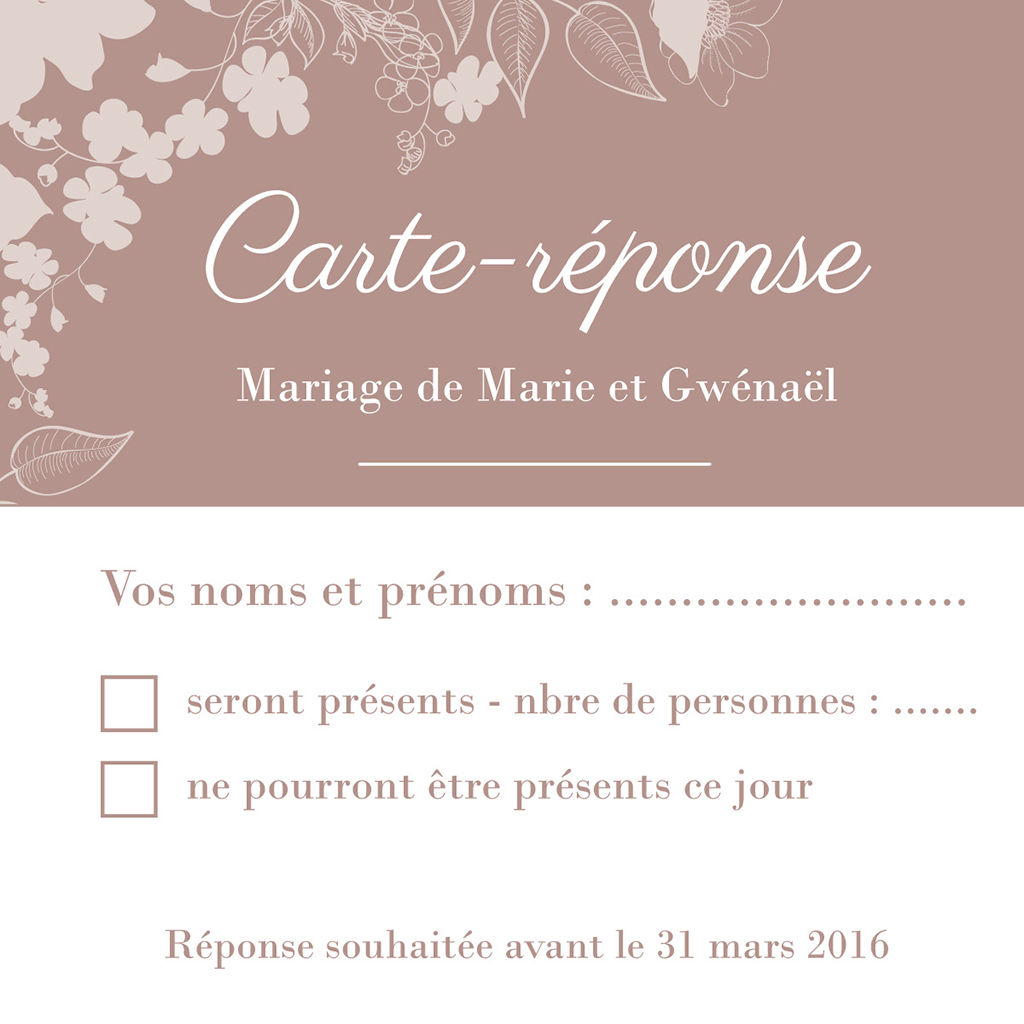 Carton réponse mariage Elégance pas cher