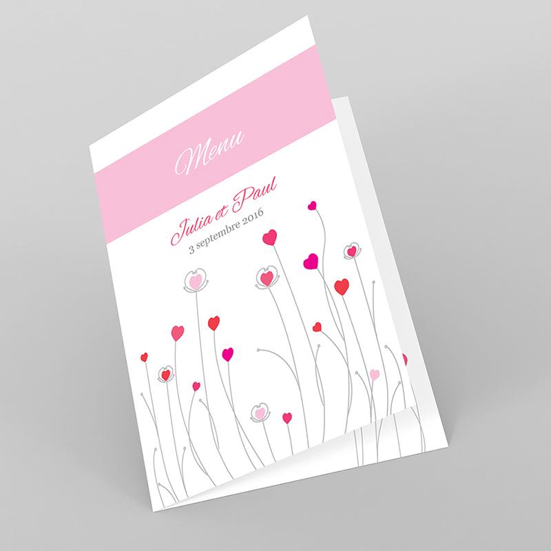 Menu mariage Idylle rose