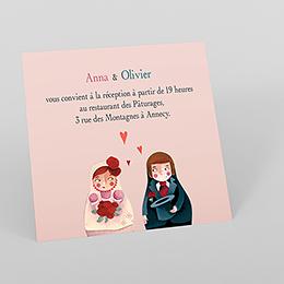 Carte d'invitation mariage Matriochkas