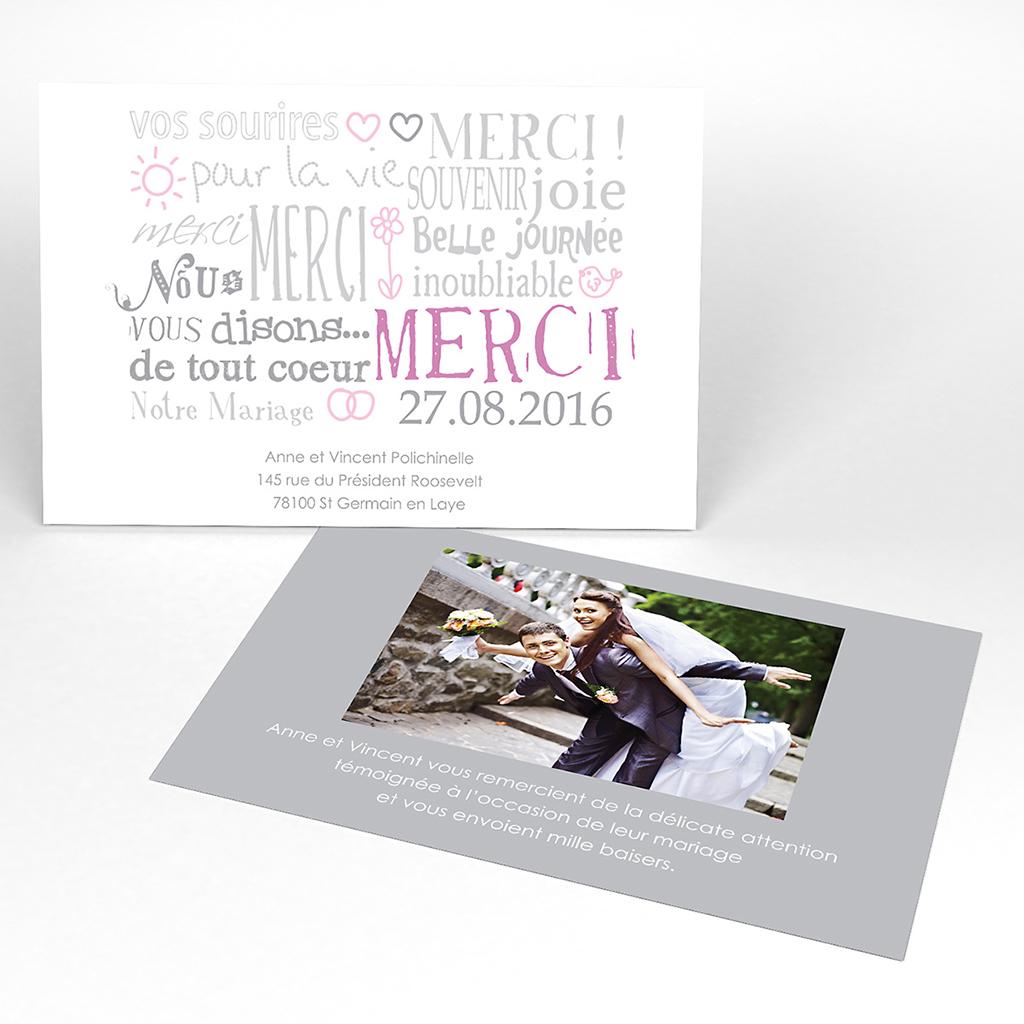 Carte de remerciement mariage Jeu de mots gris