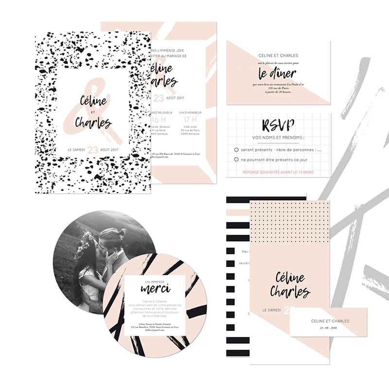 Carte d'invitation mariage Love Ink gratuit