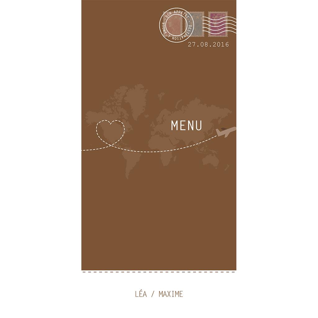 Menu mariage Voyage chocolat pas cher