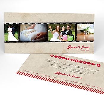 Carte de remerciement mariage Cinéma Vintage