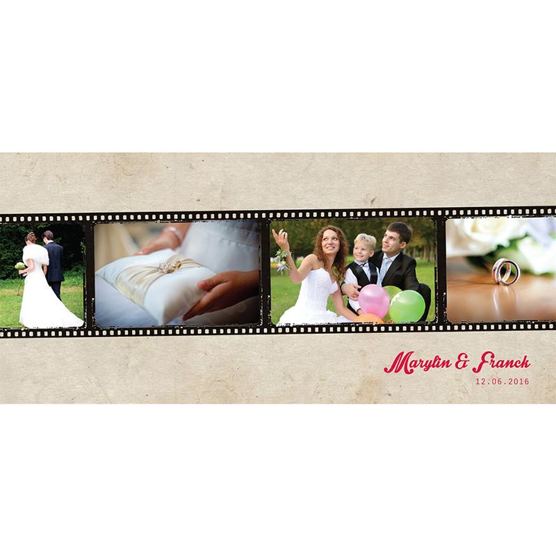 Carte de remerciement mariage Cinéma Vintage  pas cher