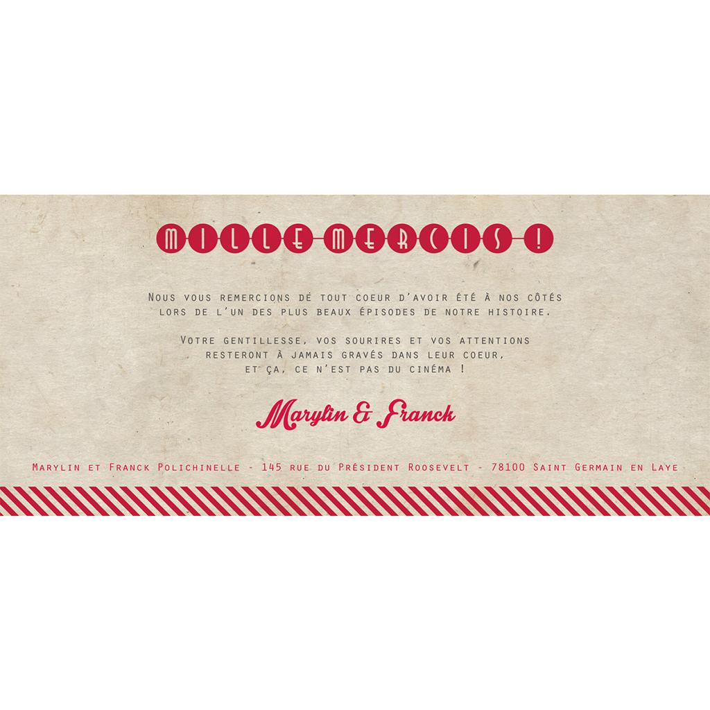 Carte de remerciement mariage Cinéma Vintage  gratuit