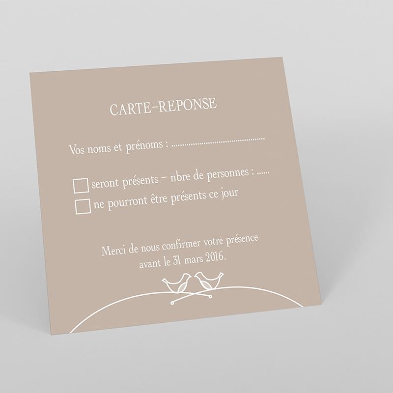 Carton réponse mariage Idylle beige