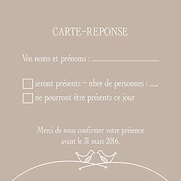 Carton réponse mariage Idylle beige pas cher