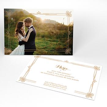 Carte de remerciement mariage Simple et Chic doré