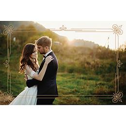 Carte de remerciement mariage Simple et Chic doré pas cher