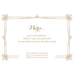 Carte de remerciement mariage Simple et Chic doré gratuit