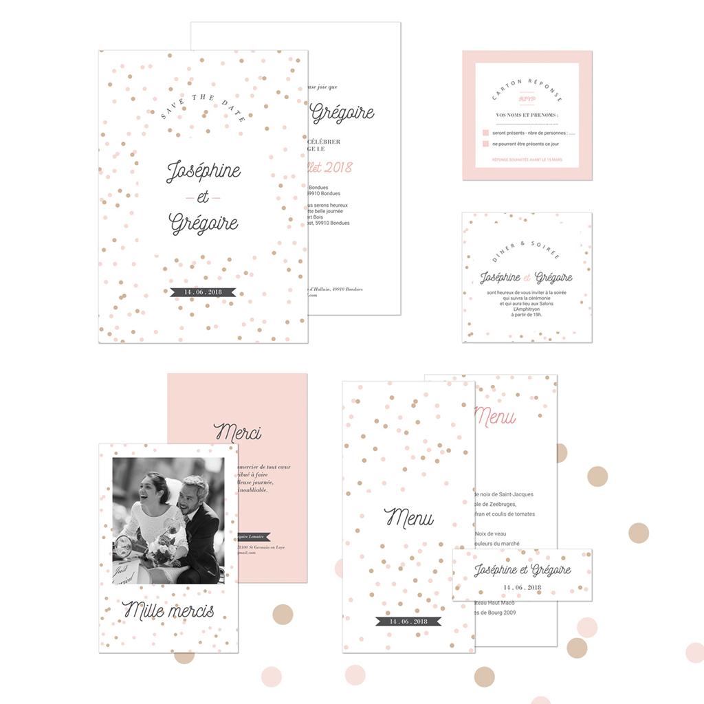 Faire-part de mariage Pretty Confettis