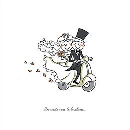Faire-part de mariage Scooter pas cher