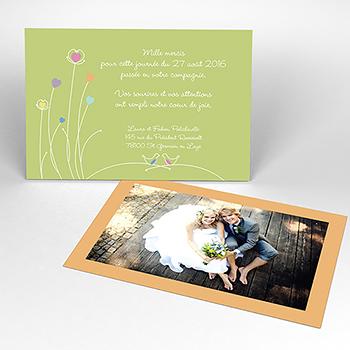 Carte de remerciement mariage Idylle blanc