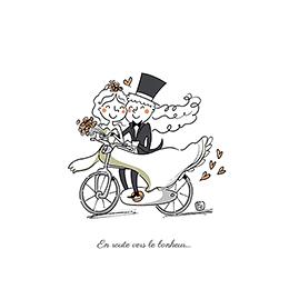 Faire-part de mariage Vélo à deux pas cher