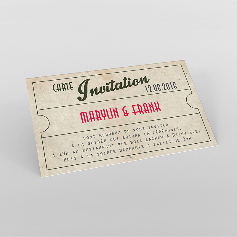 Carte d'invitation mariage Cinéma Vintage
