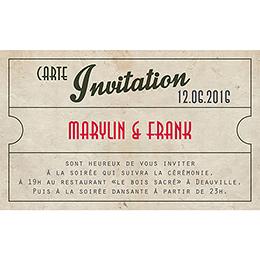 Carte d'invitation mariage Cinéma Vintage  pas cher