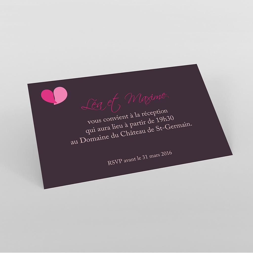 Carte d'invitation mariage Pétales violine