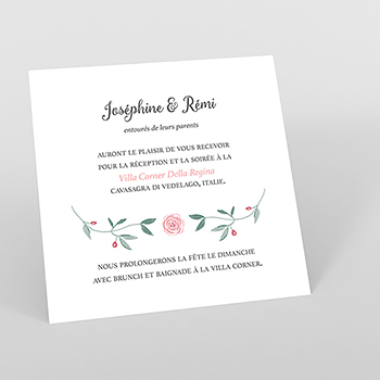Carte d'invitation mariage Feuillage