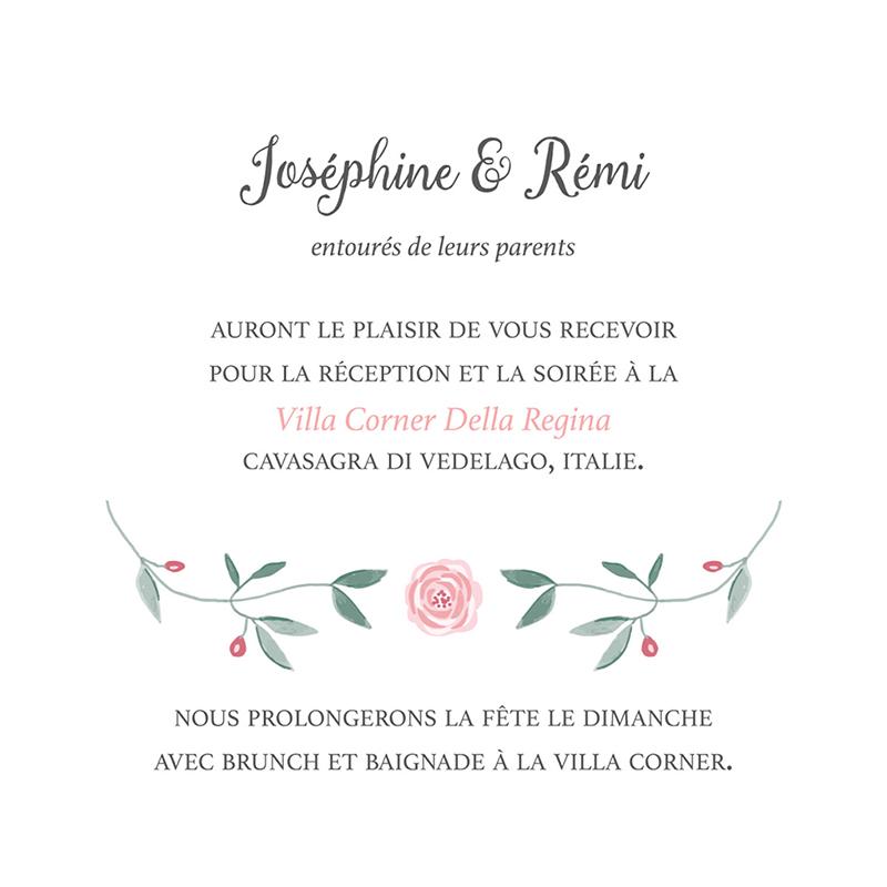 Carte d'invitation mariage Feuillage pas cher