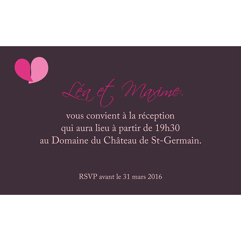 Carte d'invitation mariage Pétales violine pas cher