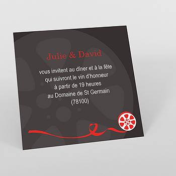 Carte d'invitation mariage Cinéma