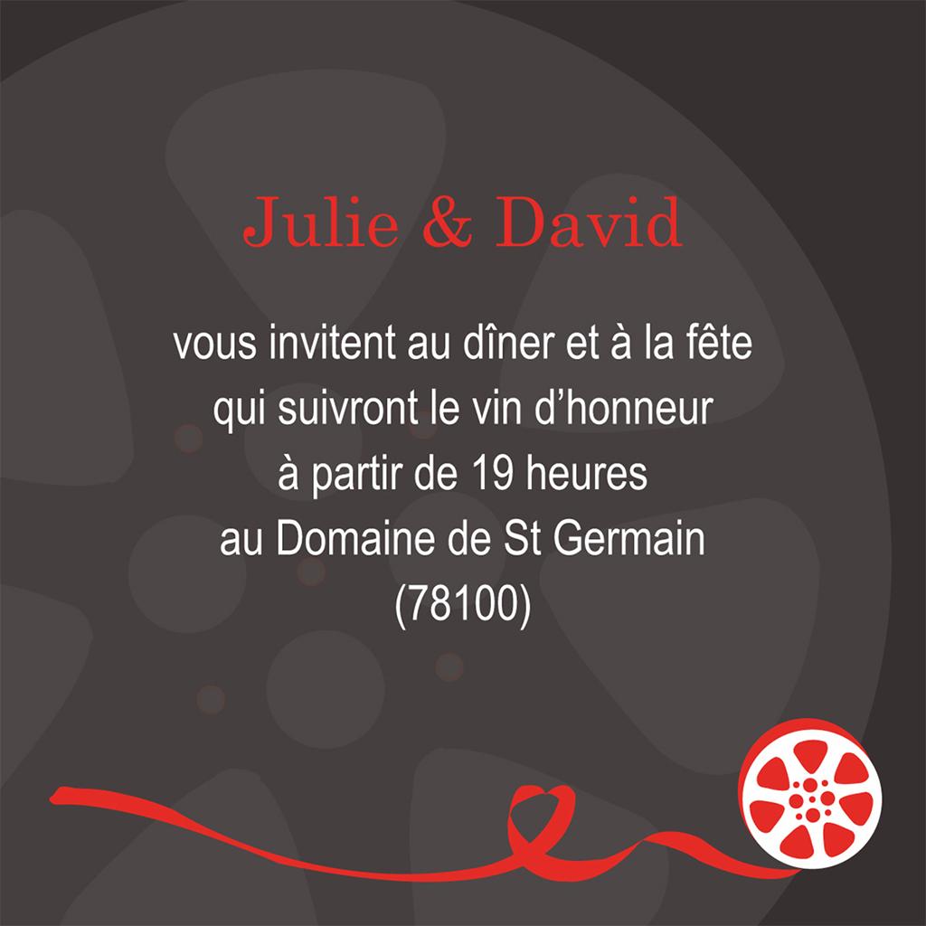 Carte d'invitation mariage Cinéma  pas cher