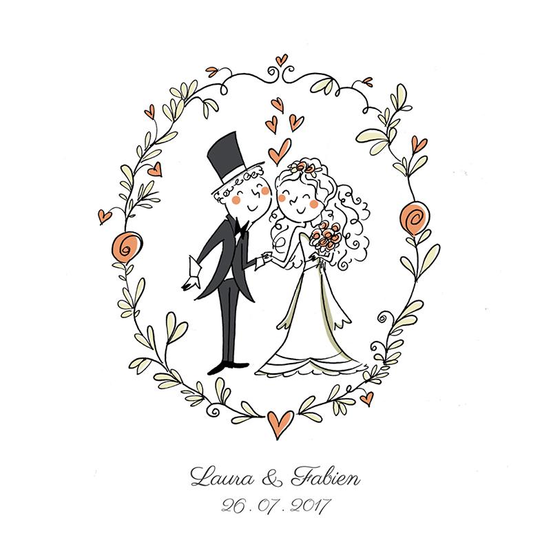 Faire-part de mariage Couronne de fleurs pas cher