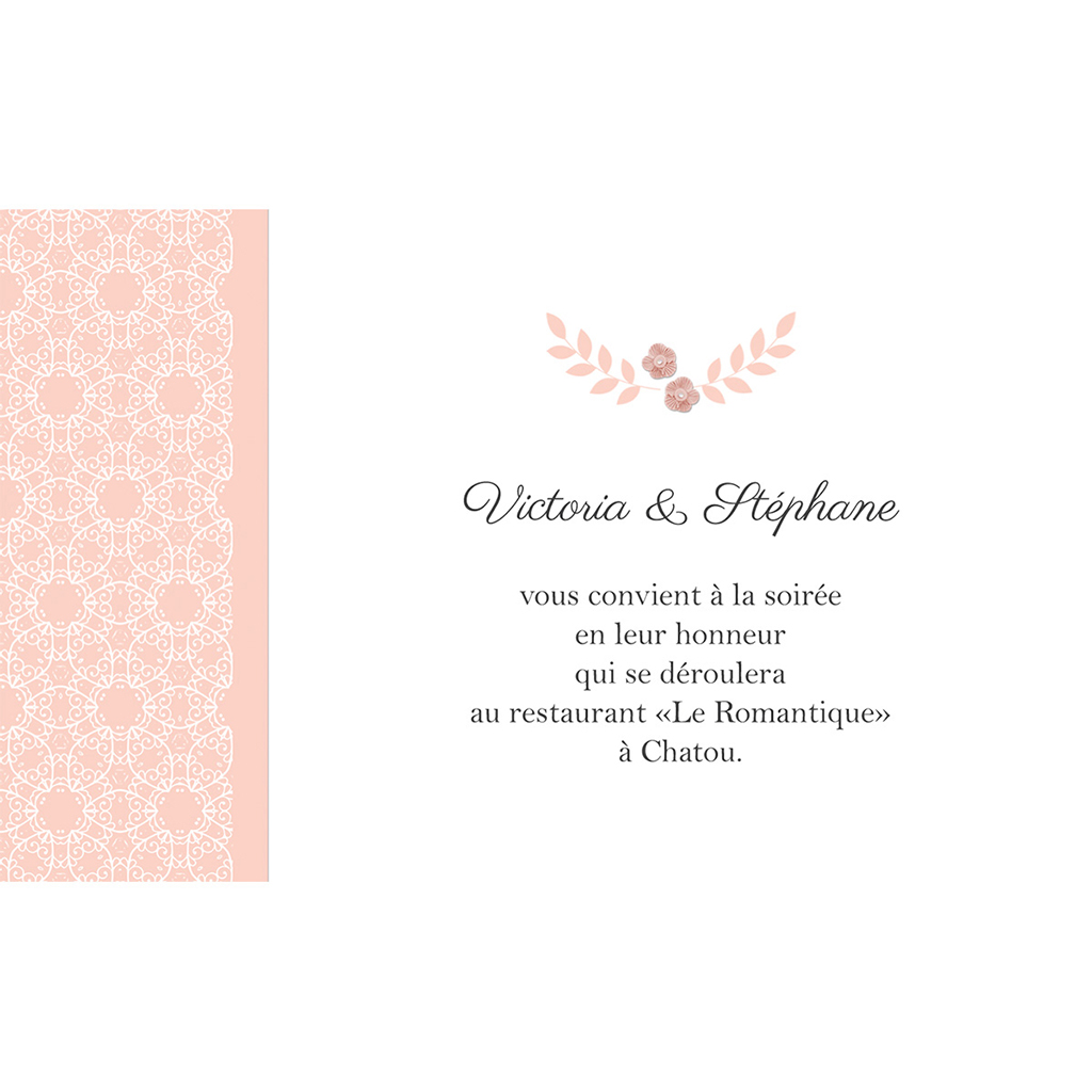 Carte d'invitation mariage Elégance poudrée pas cher