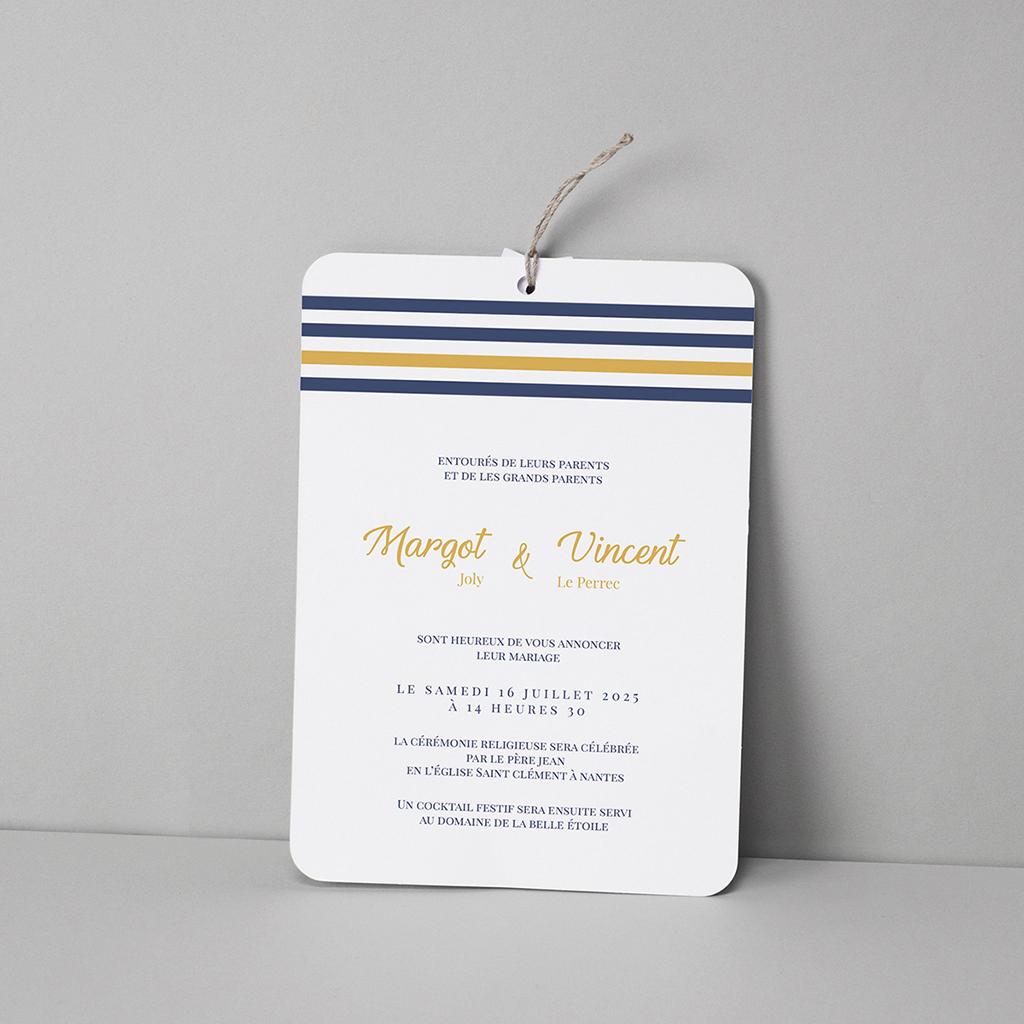 Faire-part de mariage Ancre Marine Bleu Moutarde pas cher