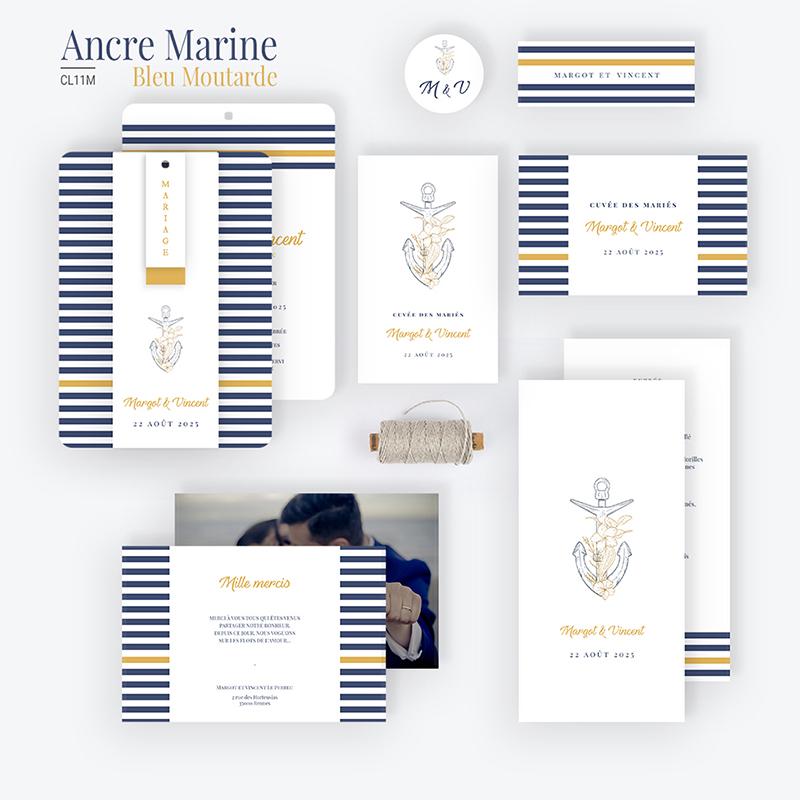 Faire-part de mariage Ancre Marine Bleu Moutarde