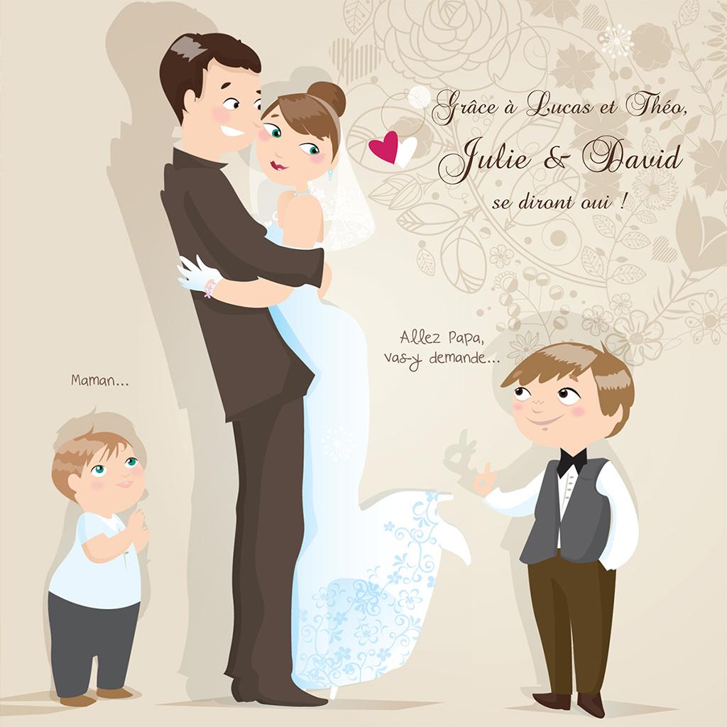 Faire-part de mariage Youpi 2 garçons pas cher