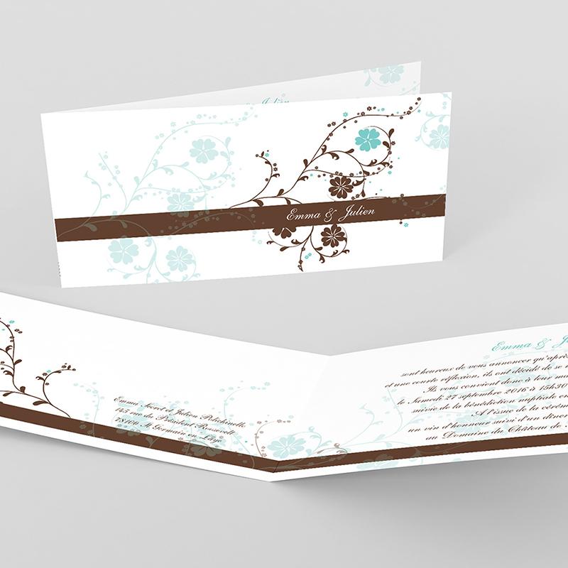 Faire-part de mariage Nuptial chocolat turquoise