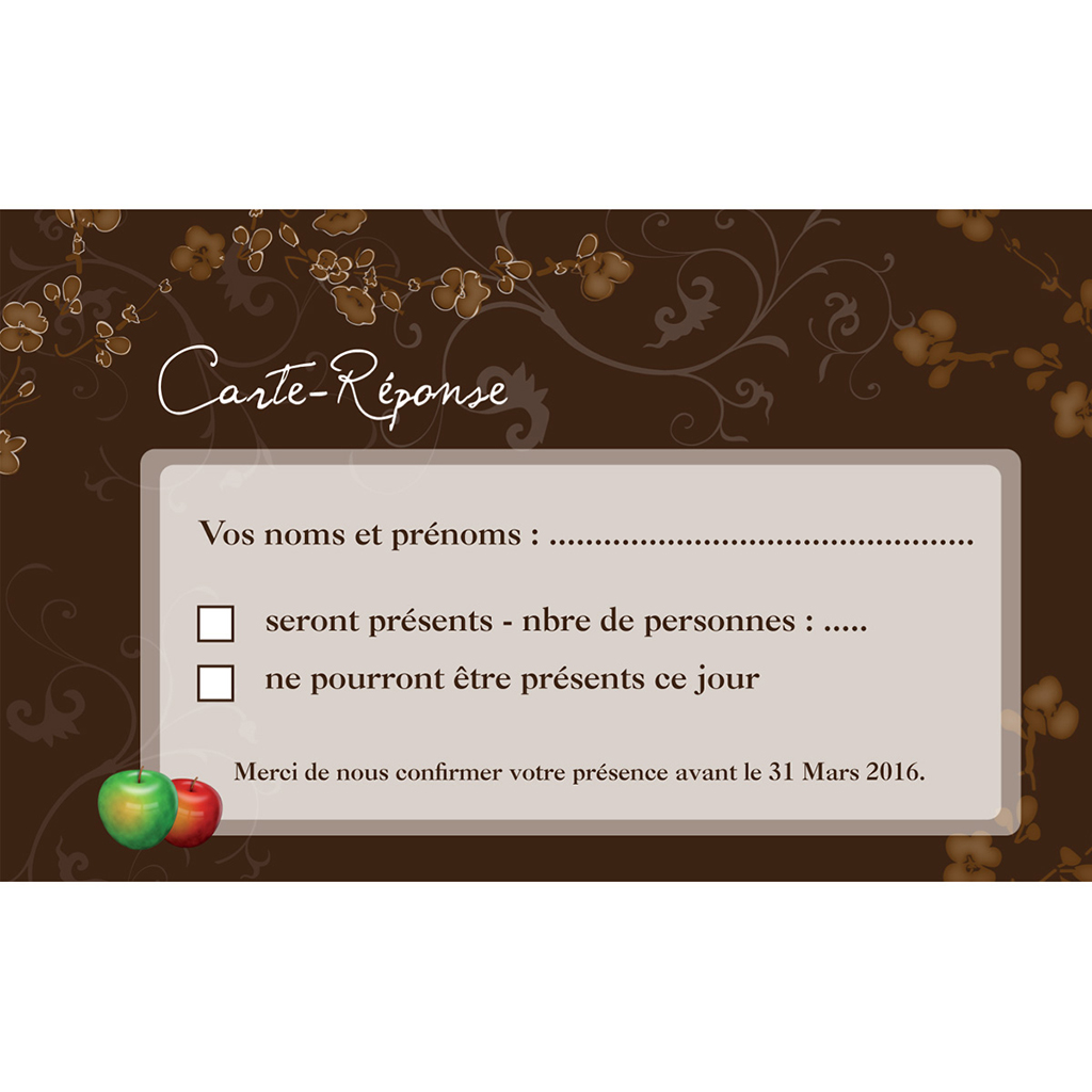 Carton réponse mariage Tentation  pas cher