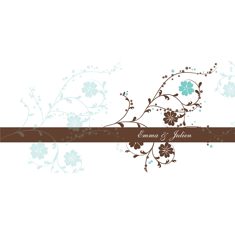 Faire-part de mariage Nuptial chocolat turquoise pas cher