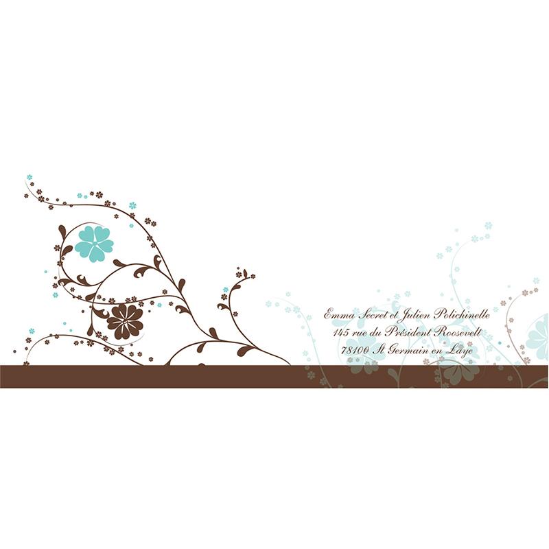 Faire-part de mariage Nuptial chocolat turquoise gratuit